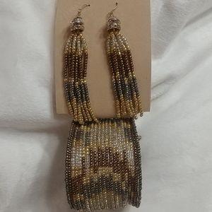 NWT ERICA LYONS Beaded Earrings & Cuff Bracelet
